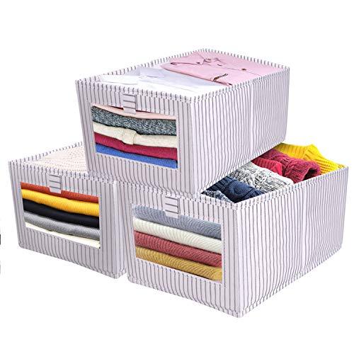 SUPRBIRD 3er Set Aufbewahrungsbox, Faltbox, Faltbare Aufbewahrungskiste mit Praktischem Griff, Regalbox ohne Deckel aus Stoff für Ihr Zuhause, Kinderzimmer, Büro oder andere Räume zu organisieren