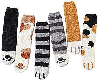 Calcetines con Patas de Gatito Lindo para Mujer Calcetines de Felpa acogedores de Felpa para Mujer Garras de Gato de Invierno Calcetines de Tubo Femeninos Lindos 6 Pares