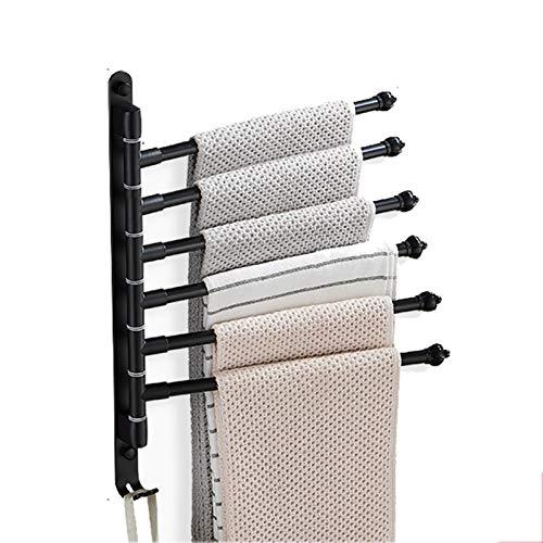 QYQS Rack de Toallas de Cocina, Rotación Silenciosa de 180 °, Diseño de Cabeza Antideslizante, Bastidor de Toallas para Piscina (6 Ganchos)(Size:6 Hooks,Color:Negro)