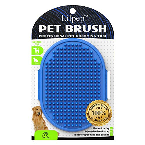 Dog Grooming Brush, Lilpep Pet Shampoo Bath Brush Soothing Massage Rubber Comb with Adjustable Ring Handle for Long Short Haired Dogs and Cats (Blue)