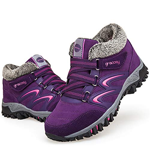 gracosy Women's Hiking Shoes, High Top Sneaker Winter Warm Hook Loop Snow Shoes Fur Lining Suede Ankle Bootie Purple 7.5 M US