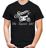 Simson Die Legende Männer und Herren T-Shirt | DDR Osten Schwalbe Trabant Wartburg (S, Schwarz)
