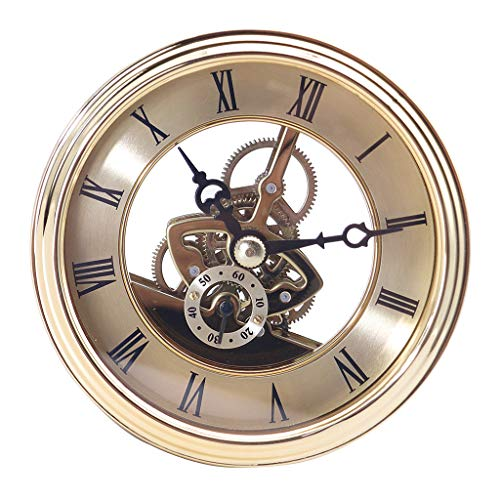 LoveinDIY Clock Inserts, Transparent Skeleton Clock Inserts Recessed Quartz Clockwork Table Clock Clock Movement Clock DIY (Diameter 97mm) - A