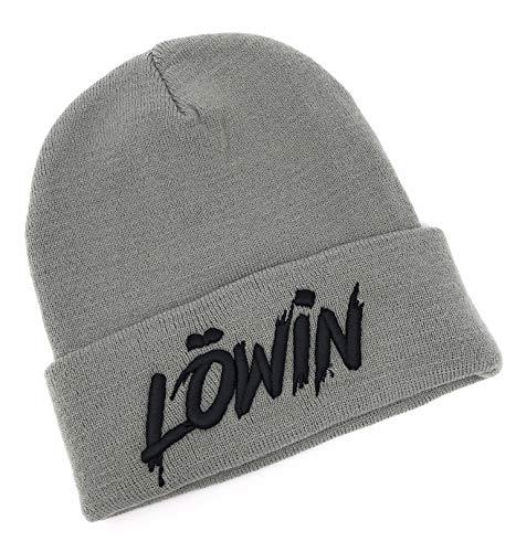 Outfitfabrik Beanie Löwin in grau mit 3D-Stick in schwarz (warme Wintermütze, Geschenk, Löwe und Löwin, Liebe, Partnerbeanie), für Männer und Frauen, One Size, dehnbar