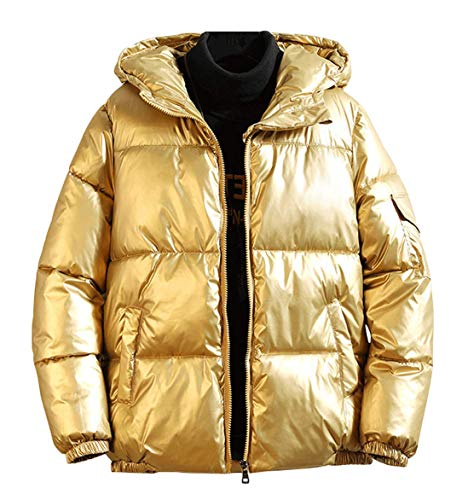 chouyatou Men's Casual Hooded Full Zip Metallic Shiny Short Bomber Alternative Down Coat (Large, Gold)