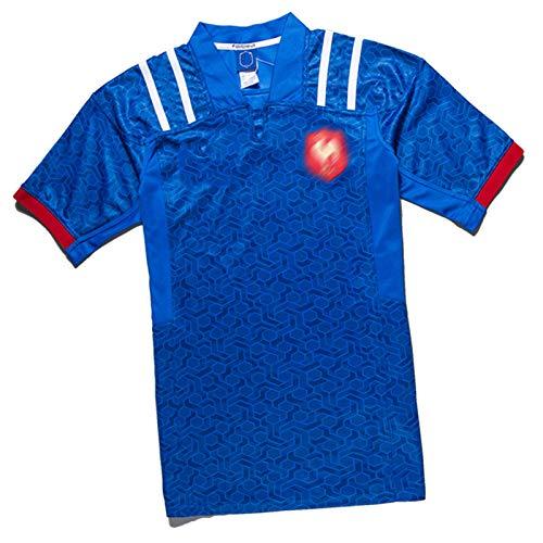 MRRTIME Rugby-Trikots für Männer, Frankreich Home und Away Kurzärmeliges T-Shirt Poloshirt, 16.17.18,19 Saison-Fan-Stickerei Rugby T-Shirt Sportbekleidung Top 19 home-3XL