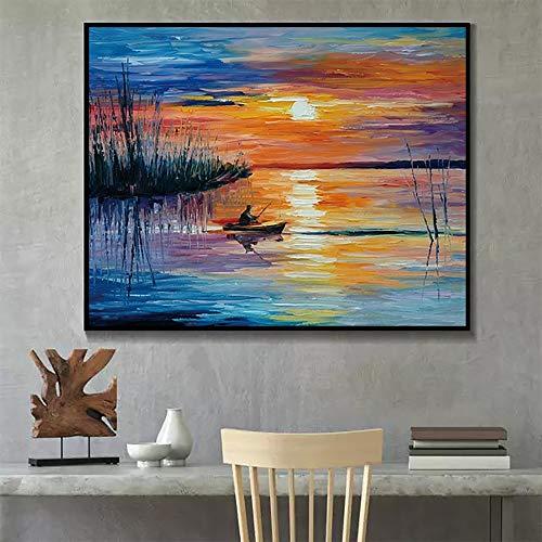 hetingyue Sunrise abstrakte Graffiti Wandkunst Poster und Leinwanddruck Kalligraphie Malerei Wohnzimmer Dekoration rahmenlose Malerei 60x80cm