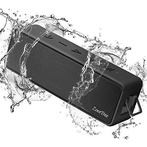 ZoeeTree S10 Bluetooth Lautsprecher, 24W Kabellose tragbarer Musikbox mit 30h Spielzeit, eingebautem Mikrofon, IPX7 Wasserdicht, 20 Meter Bluetooth Reichweite