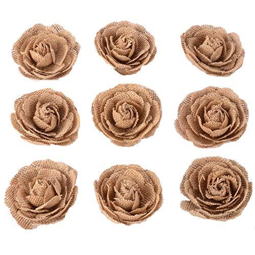 Advantez Hessian Yute Arpillera Flores de rosas para decoración de fiesta de Navidad Accesorios para el cabello Scrapbooking 9-Pack 3 '