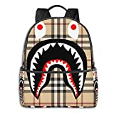 NiYoung Durable Polyester Rucksacks Plaid Bapes Shark Teeth Logo Pattern Travel Hiking Backpack - Big Capacity Anti-Theft Multipurpose Carry-On Bag for Boys Girls