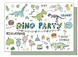 15 Einladungskarten Kindergeburtstag: 'Dino Party' Dinosaurier Geburtstagseinladungen Einladungen Geburtstag Kinder Mädchen (15 Karten mit 15 passenden Umschlägen Briefumschlägen)