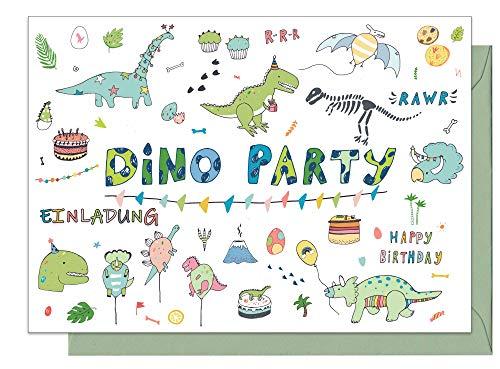 """15 Einladungskarten Kindergeburtstag: \""""Dino Party\"""" Dinosaurier Geburtstagseinladungen Einladungen Geburtstag Kinder Mädchen (15 Karten mit 15 passenden Umschlägen Briefumschlägen)"""