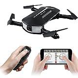 JJR/C H37 Mini Bébé Pliable Mini Drone,Selfie Drone Quadcopter Transmission en Temps Réel avec Caméra 720P WIFI FPV Drone, Télécommande Similaire à WIFI, Garantie, Avec Un Sac de Transport, Noir