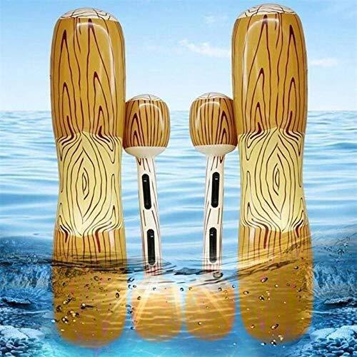 SWNN Piscina Inflable Flotador de Piscina, 4 Piscinas de Verano, Doble hilera Inflable de Playa al Aire Libre, Juguetes de Troncos de Agua