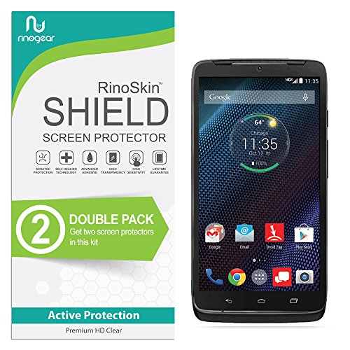 (2-Pack) Motorola Droid Turbo Screen Protector RinoGear Case Friendly Screen Protector for Motorola Droid Turbo Accessory Full Coverage Clear Film