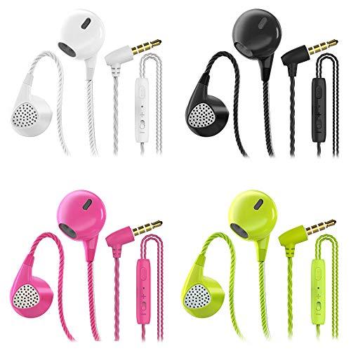 CBGGQ 4 Paare In Ear Kopfhörer, Stereo Bass In Ear Ohrhörer mit Mikrofon & Fernsteuerung Noise Cancelling Bass-Sound Kopfhörer für iOS, Android Smartphones, Samsung,MP3 Players(Weiß+schwarz+rosa+grün)