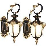 DFJU 2 Pack Lâmpada de Exterior rústica, Aplique Vintage de Parede Exterior, candeeiro de Parede IP65, alumínio Lacado, abajur de vidro, iluminação Ambiente para jardim, varanda, garagem