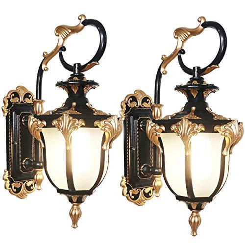 FGVBC Pack de 2 lámparas de Exterior rústicas, Aplique de Pared Exterior Vintage, Aplique de Pared IP65, Aluminio Lacado, Pantalla de Cristal, iluminación Ambiental para jardín, balcón, Garaje