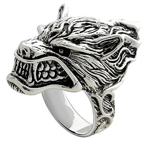 Aienid Friendship Ring 925 Silver Punk Rock Wolf Head Ring for Men Silver
