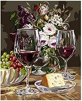 大人の食べ物とワインの数字でペイントDiy番号絵画キット壁アート装飾ギフトクリスマス装飾装飾ギフト-16x20インチ(フレームレス)