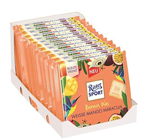 RITTER SPORT 'Buenos Días' Weisse Mango Maracuja (12 x 100 g), weiße Schokolade mit fruchtiger Mango-Maracuja-Creme & Crisps, Tafelschokolade, Fernweh-Edition