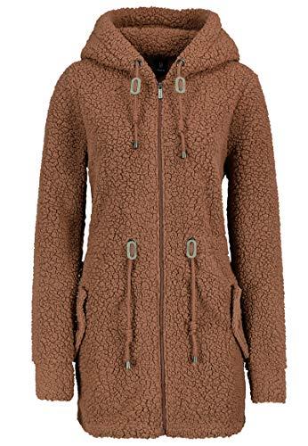 Sublevel Warmer Damen Teddy Fleece Mantel Jacke mit Kapuze Brown XS
