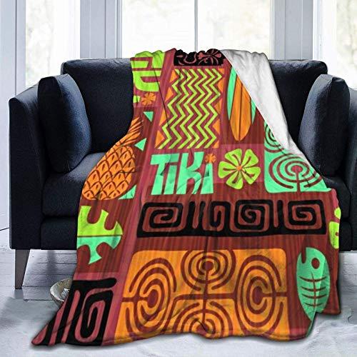 AEMAPE Patrón Tiki exótico sin Costuras, Uso de Microfibra, Manta cálida para Todas Las Estaciones, Manta para Sala de Estar/Dormitorio/sofá