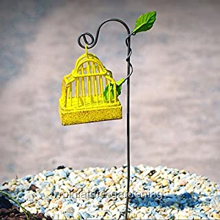 Miniature Fairy Garden Canary Yellow Bird Cage with Hook - My Mini Garden Dollhouse Accessories for Outdoor or House Decor