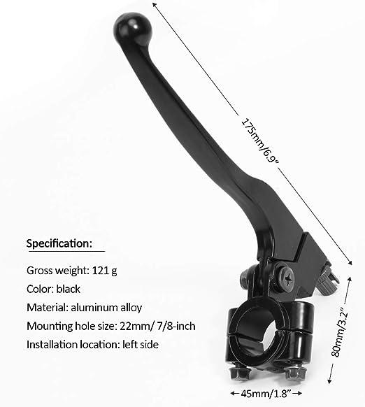 Nrpfell Leva Frizione Frizione Manubrio Sinistra 22Mm 7//8 Pollici Alluminio per Pit Dirt Bike Moto ATV Parti Freni Moto Argento