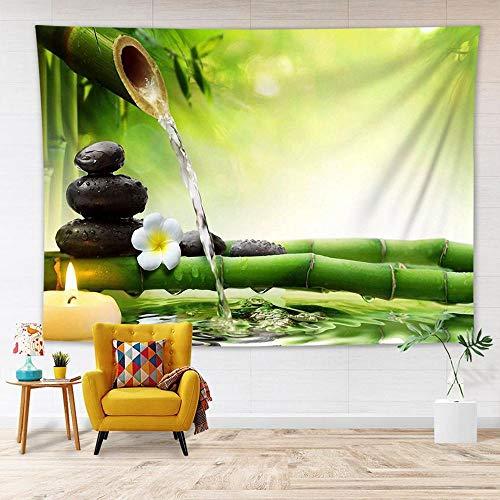 Tapiz floral Decoración para colgar en la pared Lotus Bamboo Stems Stones Jardín Paisaje Arte Tela de pared Tapiz Mantas Alfombra 150x179cm