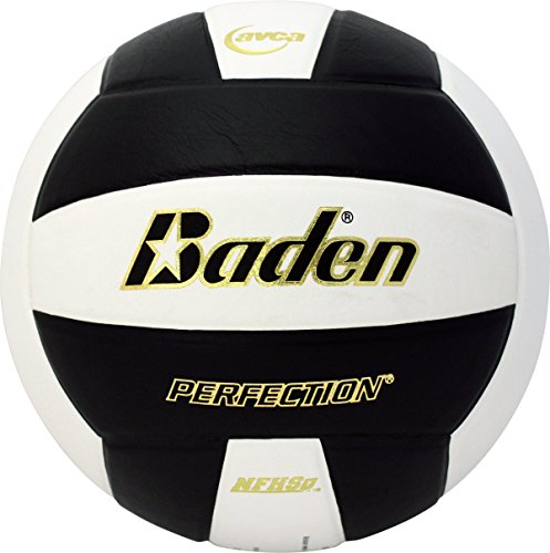 Baden Perfection Leather Volleyball, Black/White