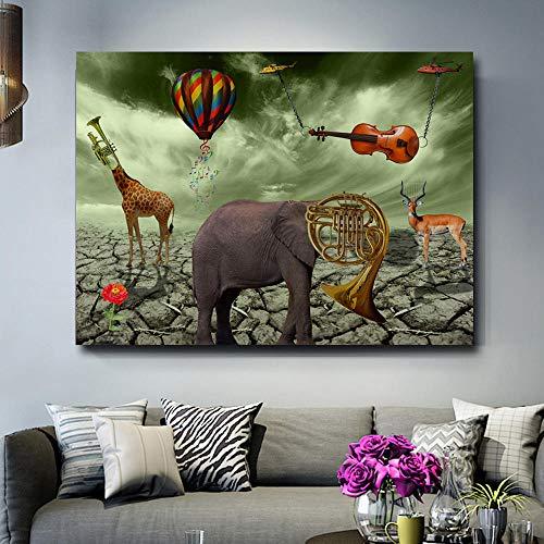 YB Salvador Dali olifant hert trompet schilderij canvas gedrukt muurkunst print poster voor de woonkamer dier cuadros Home Decor-60x80 cm geen lijst