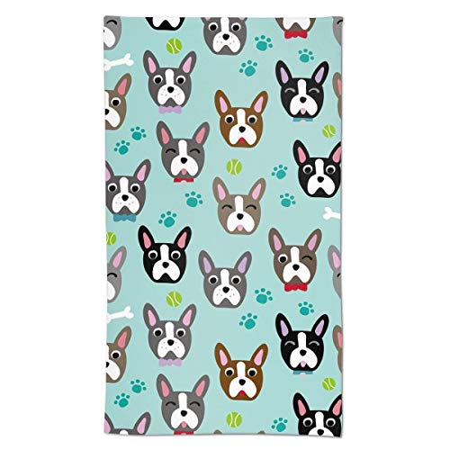 Cute Dog Face Cartoon Boston Terrier Hand Towels Soft Towels Decorative for Kitchen Room Bath Hotel Housewarming Gifts 27.5 X 15.7 Inch