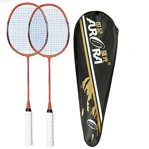 Sipaluo Professionelles Badminton-Set, Zwei Ultraleichte Carbon-BadmintonschläGer FüR Fitnesstraining Und Unterhaltung,Orange