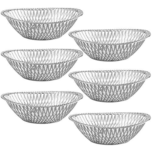 """Small Plastic Silver Bread Baskets - 6 Pack Reusable 8"""" Oval Food Storage Basket - Elegant Modern Décor for Kitchen, Restaurant, Centerpiece Display - by Impressive Creations"""