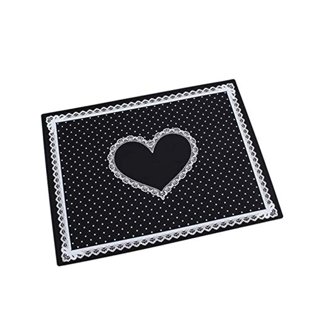 注入喪最後にネイルアート用品 グレートネイルアートサロンマニキュアシリコーン枕ハンドホルダークッションレース表洗える折り畳み式のマット(ブラック) (色 : Black)