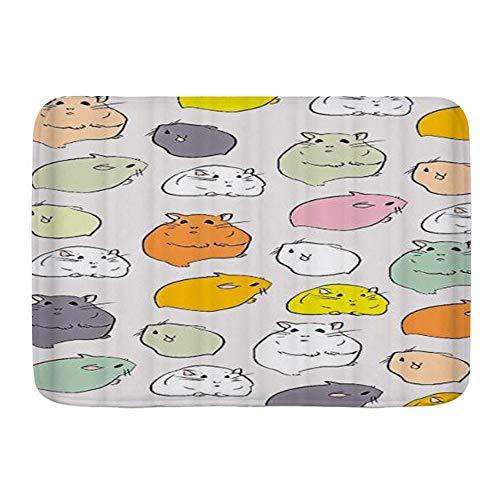 SUGARHE Tappetini da Bagno per Bagno,Fumetto colorato Criceto Disegnato a Mano,Tappetinida Bagno Antiscivolo con Assorbente d'Acqua,Tappetino per Pediluvio Morbido