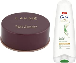 Lakme Rose Face Powder, Warm Pink, 40g & Dove Hair Fall Rescue Conditioner, 180ml