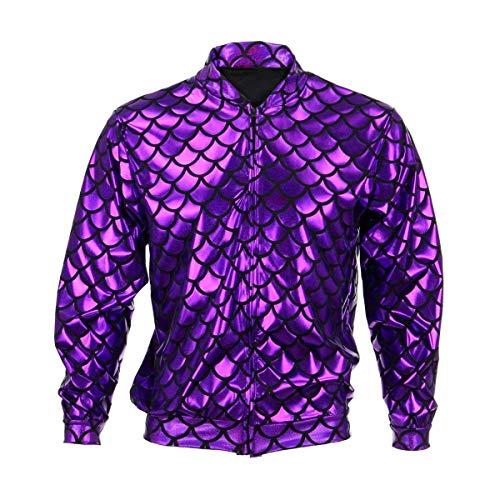BFD Bomberjacke für Herren und Damen, metallisch, glänzend, leicht, Slim Fit Gr. Medium/Large, Purple Scale