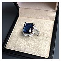 おしゃれな性格 Jewepisode実925スターリングシルバー天然水晶ブライダルジュエリーセットのための女性の結婚式の婚約指輪ネックレスイヤリングセット (Gem Color : Blue ring, Length : 45cm)