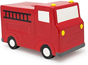 Isaac Jacobs Ceramic Red Fire Truck Coin Bank, Vehicle Money Bank Home Décor, Piggy Bank Gift for Kids, Teens, and Adults (Red Fire Truck)