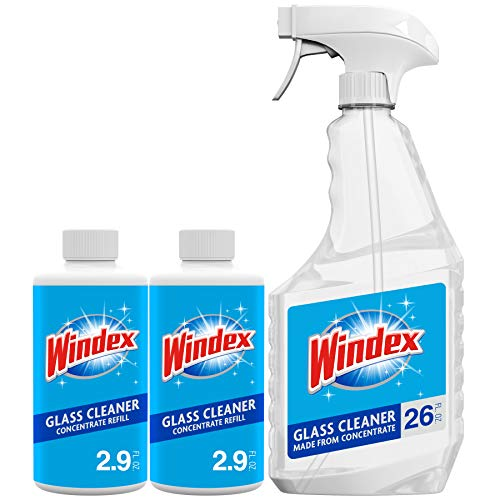 Windex Glass and Window Cleaner Concentrate Starter Pack, Re-usable 26 fl oz Spray Bottle and Two 2.9 oz Refills