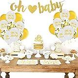 Amycute Baby Shower Dekorationen Gold und weiß Konfetti Luftballoons Oh Baby Brief Banner Pailletten Luftballons für Baby Shower.