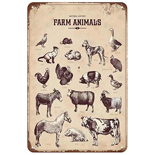 LCCNE Cerdo Vaca Pollo Animal Placa Metal Vintage Cartel de Chapa Cocina Restaurante Cartel de Metal Decorativo Decoración de Bar Vintage Cartel de Metal Placa de Metal 20x30cm 22