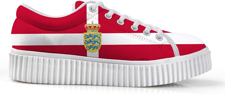 Owaheson Platform Lace up Sneaker Casual Chunky Walking shoes Low Top Women Danish Flag National Emblem
