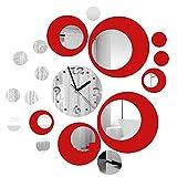 Itian Reloj de Pared de Metal con la Decoración Efecto de Espejo Moderno...