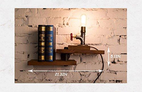 HongTeng Almacenamiento Estantería de Almacenamiento Estantería Hierro Forjado Tuberías industriales Estanterías de Pared Estantería Vintage Tuberías de Agua Expositor Marrón 11.8 * 5.9 * 7.9in