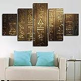 QMCVCDD 5 Piezas De Pared Fotos Cuadros En Lienzo Jeroglífico Egipcio Antiguo HD Imprimir Modern Artwork Decoración De Arte De Pared Living Room 5 Piezas Artística Cuadros