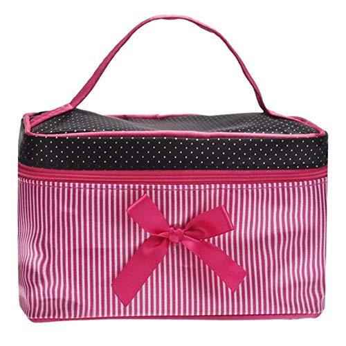 Designer Sacs cosmétiques Femmes Sac carré Bow Stripe Dot Organisateur Sac Maquillage Voyage Maquillage de cas Boîte femmes nécessaires à (Color : Pink)