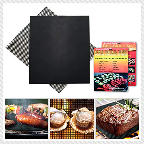 KCpenny Premium BBQ Grill Mats 4pack Set 2 Mesh Grill Mat, 2 Flat Mats Works on Electric Grill Gas Charcoal BBQ Heavy Duty, Non-Stick BBQ Grill and Easy Washing 16x13Inch Reusable Barbeque Grill mats